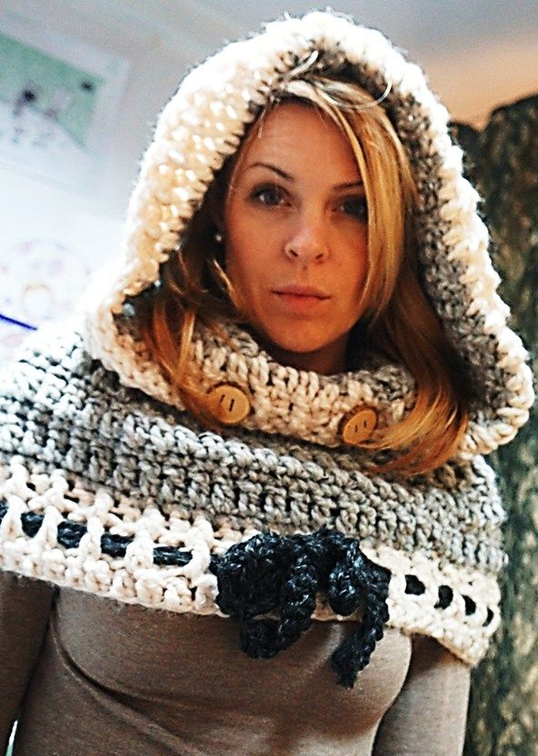 Free Crochet Hooded Cowl Pattern Hooded Cowl With Bow Detail In