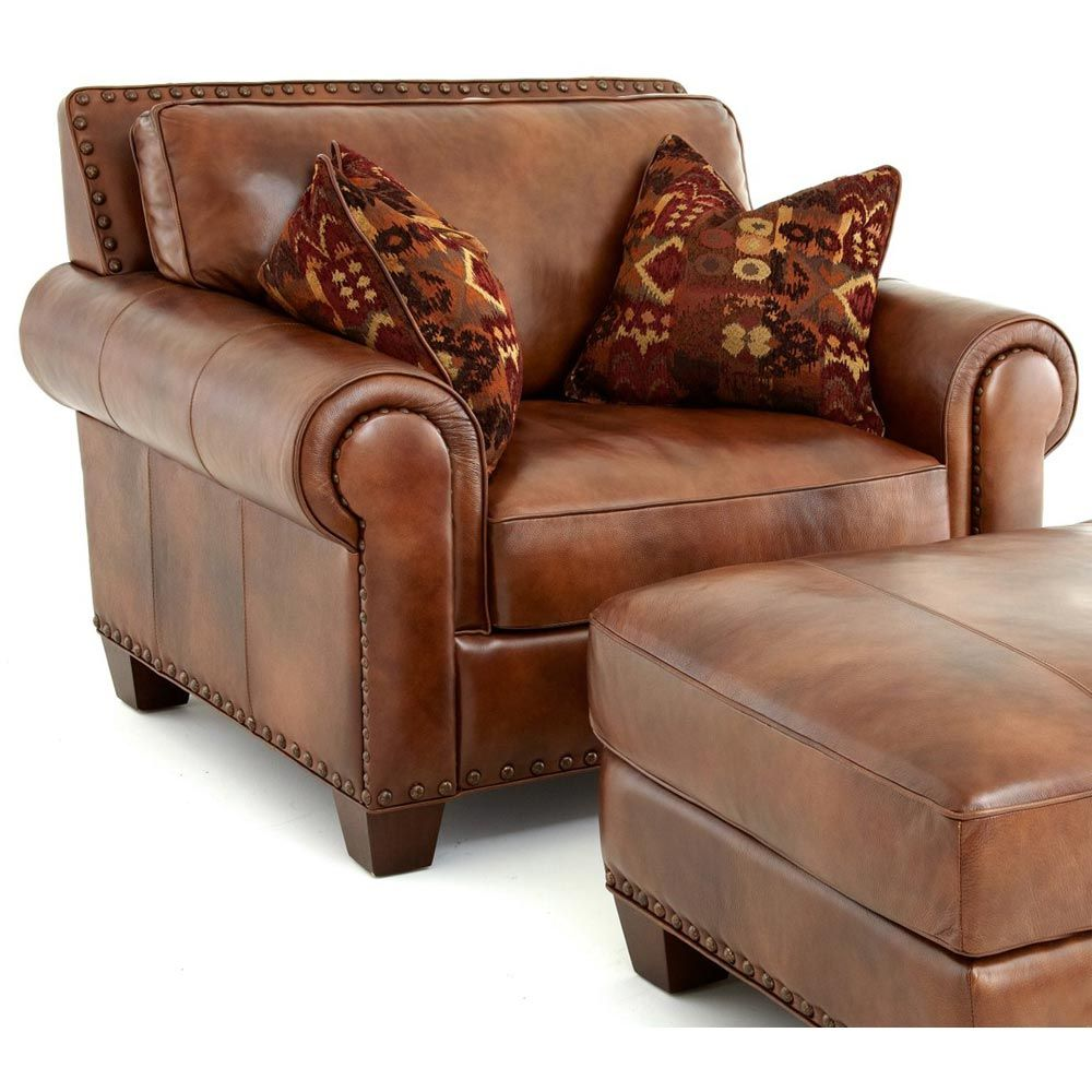 Caramel Leather Wingback Chairs with White Nailhead Stools ...