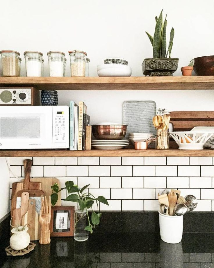 love the look of open shelving in the kitchen instead of on kitchen shelves instead of cabinets id=60814