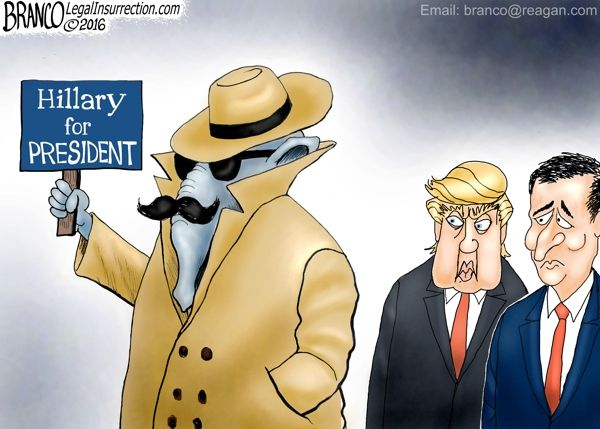 Mistaken Identity: GOPe for Hillary - Many in the GOP would rather see a Hillary victory than see either Trump or Cruz in the White House. Political Cartoon by A.F.Branco ©2015.