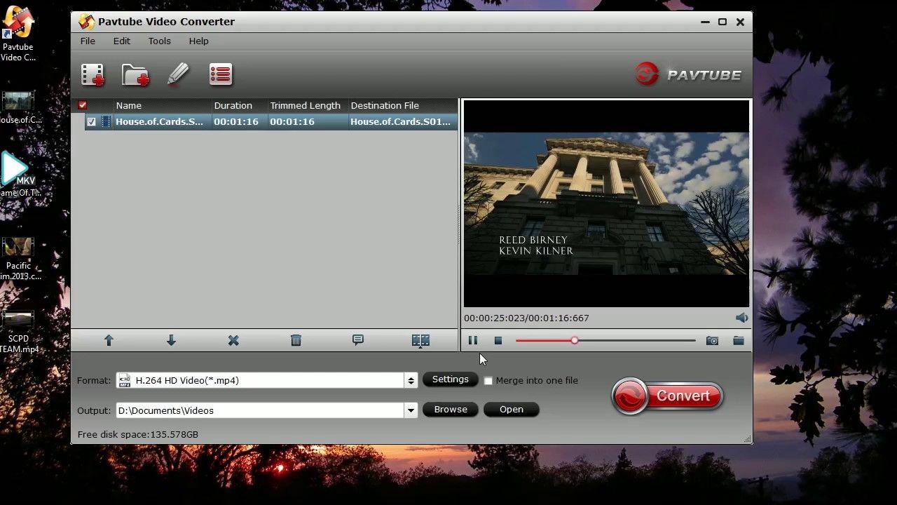 Convert h264 mp4 mov avi mkv flv to h265 video