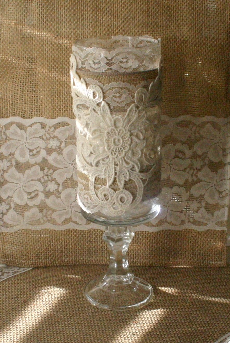 Vintage Burlap Wedding Vase, Victorian Wedding Centerpiece -7861