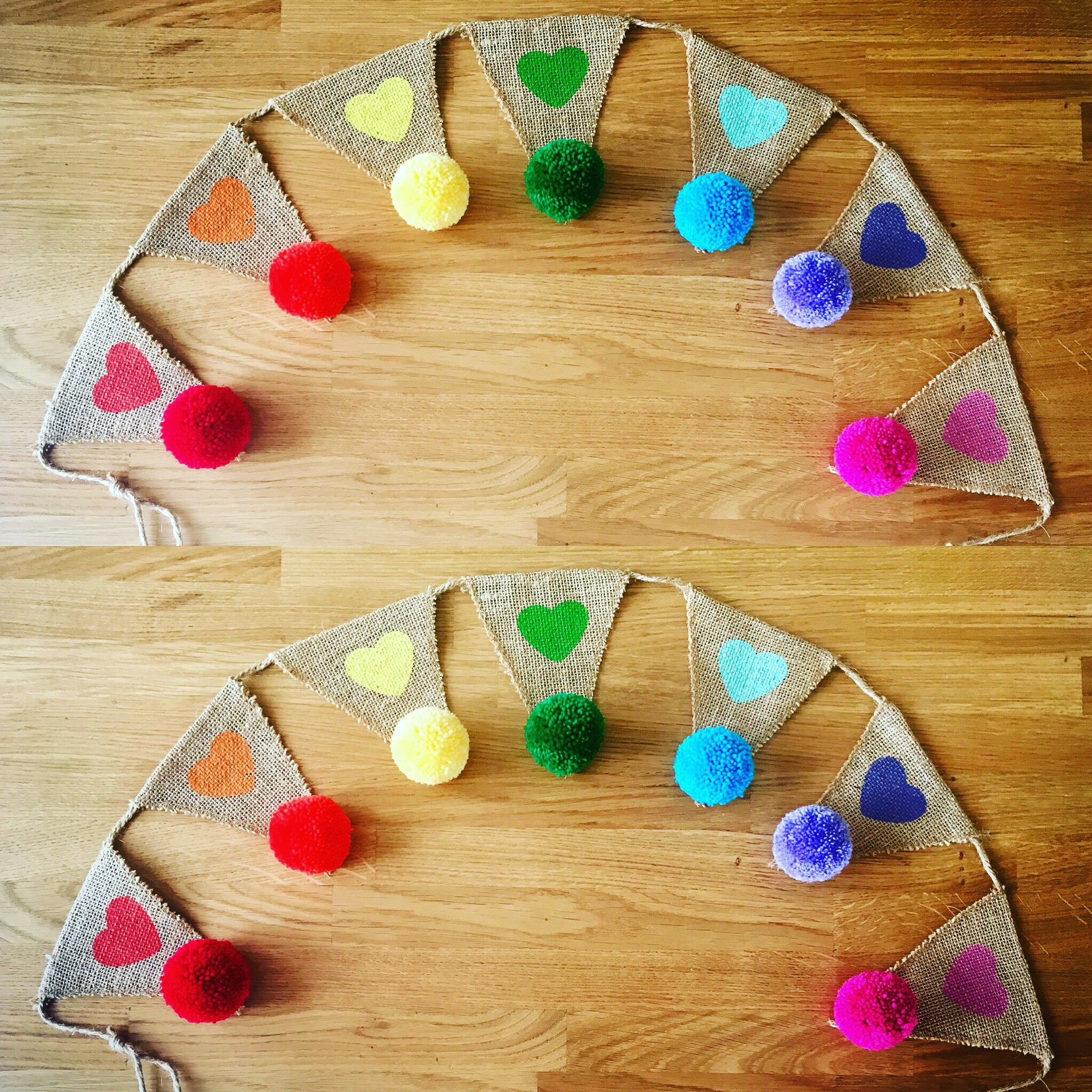 Hand Made Pompom Rainbow Bunting Perfect Gift
