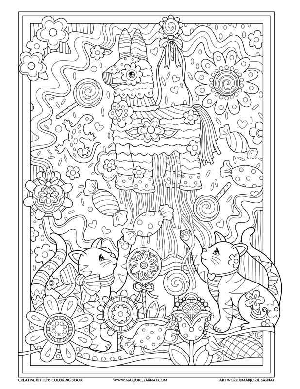 Pinata Creative Kittens Coloring Book By Marjorie Sarnat Kitten Coloring Book Kittens Coloring Animal Coloring Pages