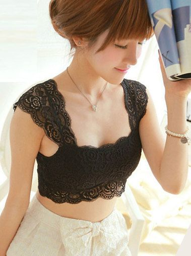 Seductive Lace Pure Color Square Collar Lady's Camis Two