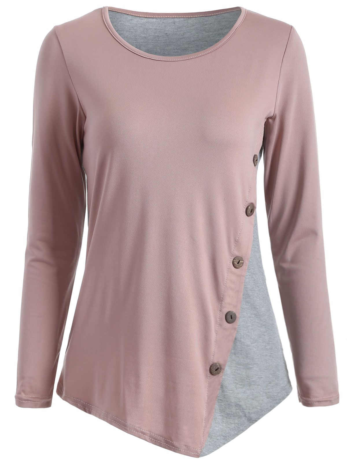 Color block buttoned tshirt beautiful the shape and grey