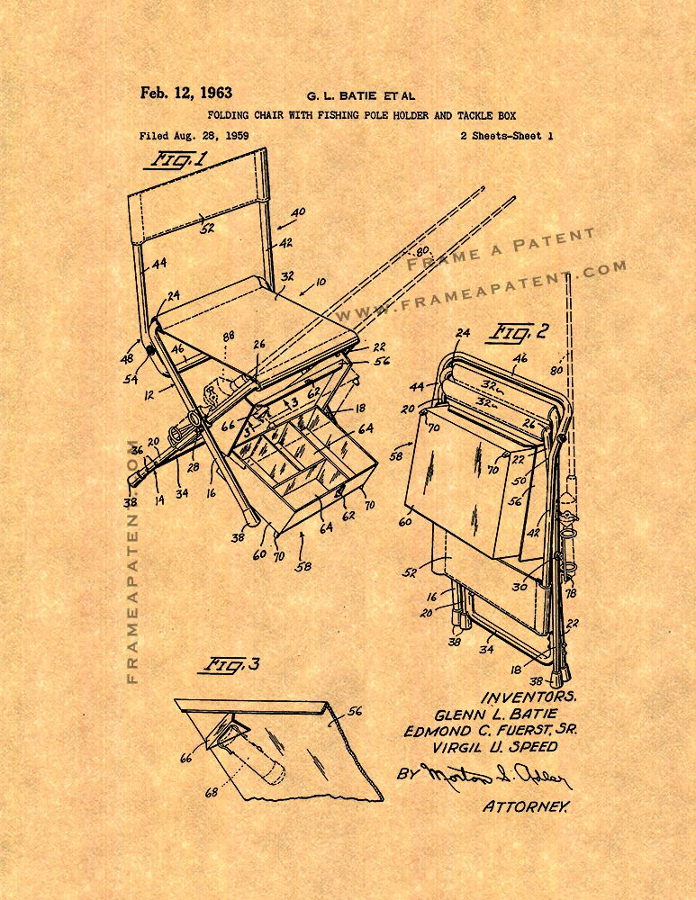 Folding Chair Fishing Pole Holder Office With Arms And Tackle Box Patent Print Poster Item 15579