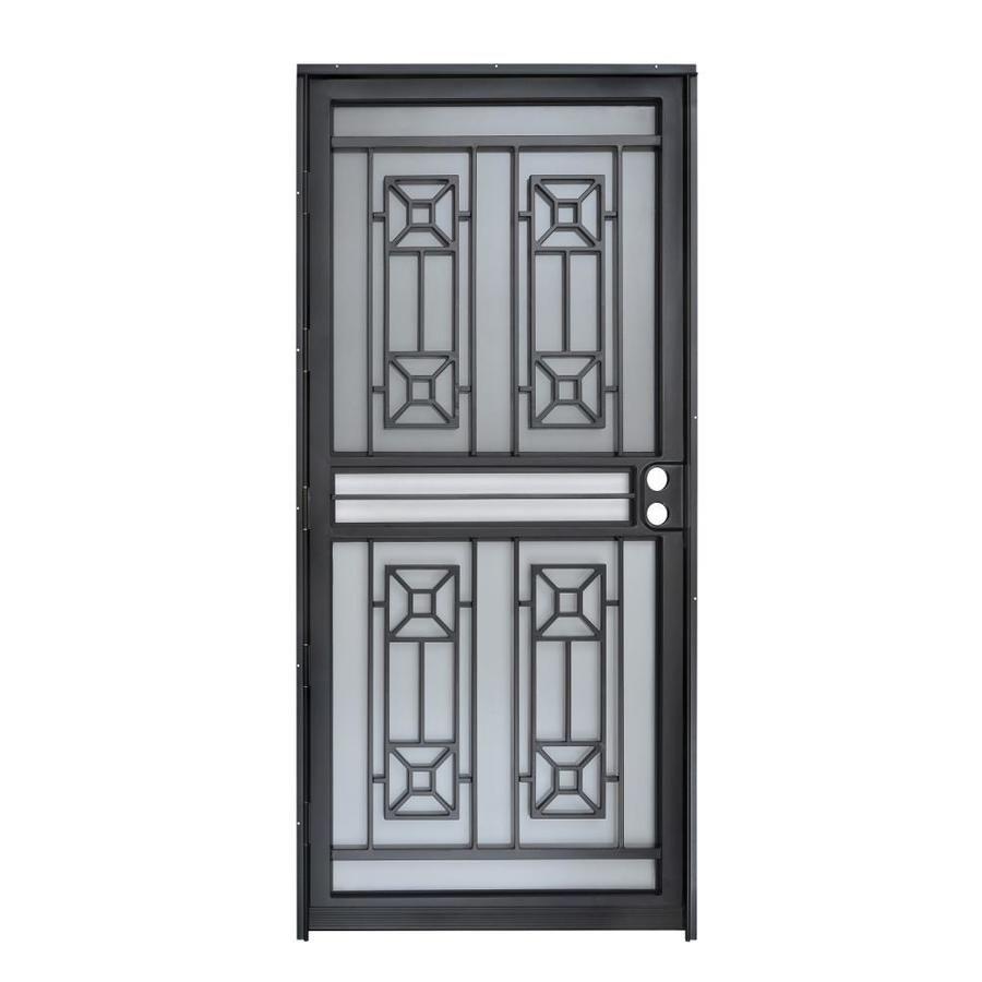 Gatehouse Matrix Black Steel Recessed Mount Single Door Security Door Common 36 In X 80 In Actual 35 In X 78 5 In Security Door Black Steel Single Doors
