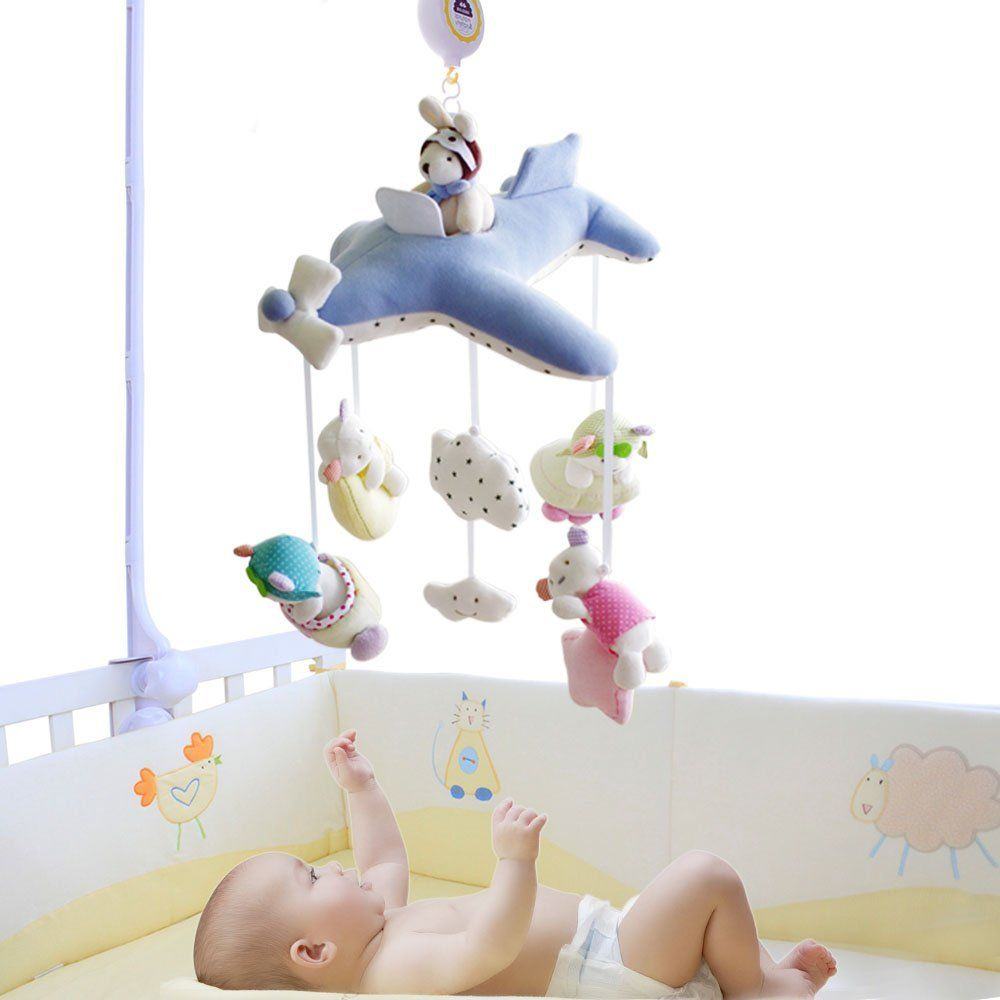 Shiloh deluxe baby plush crib mobile with songs musical box and