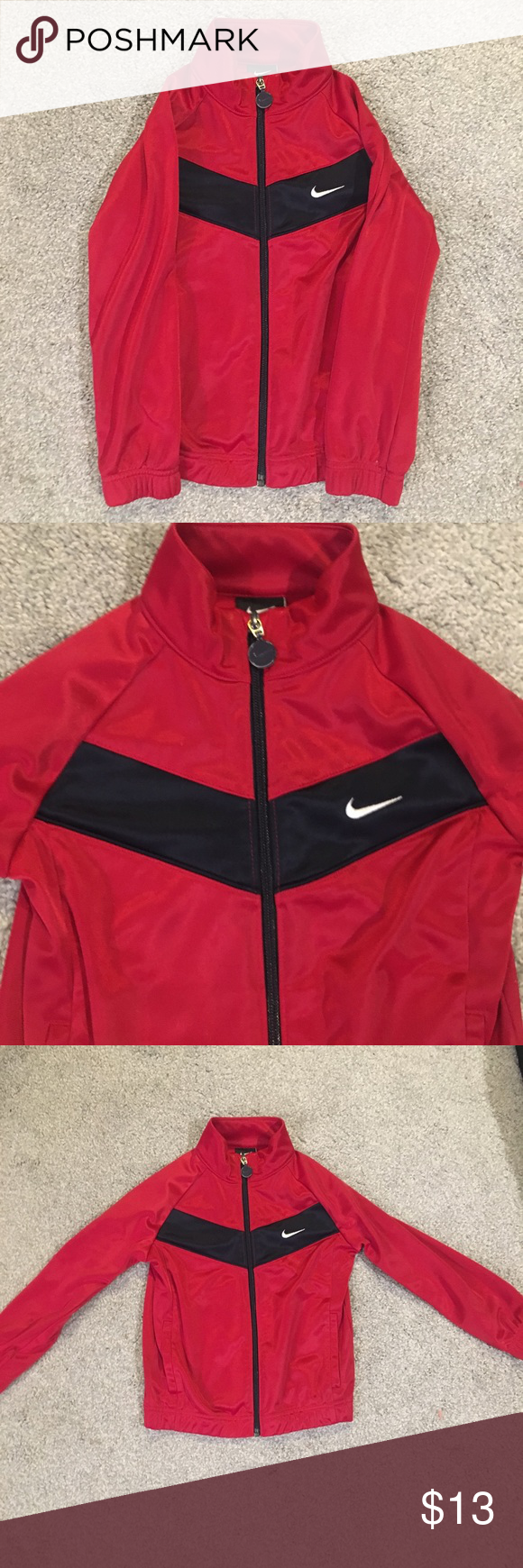 df4a86cae222 Little Boys  Nike Jacket Red Nike zip up jacket with a light fleece lining.  Black stripe across front and back. EUC Nike Jackets   Coats