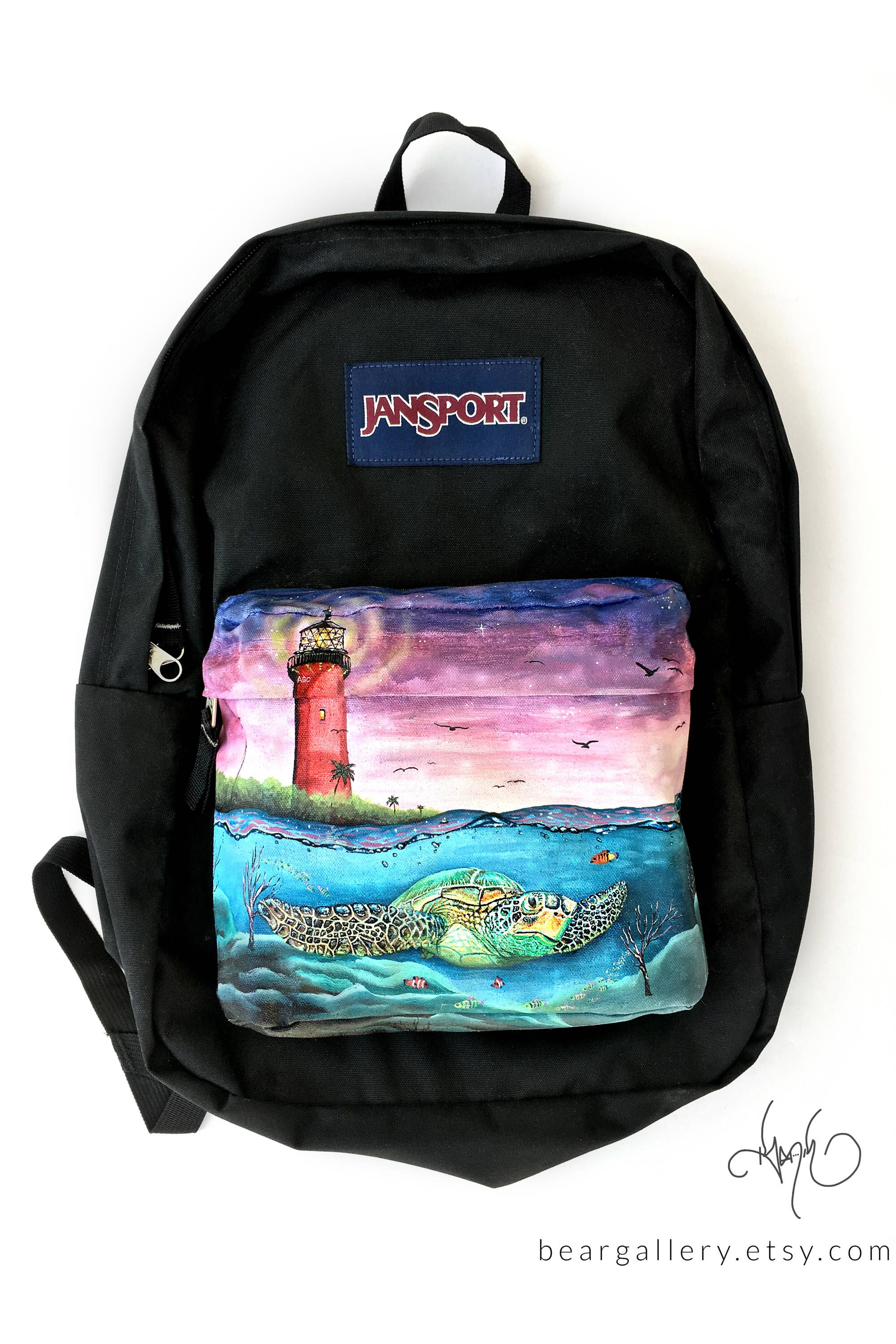 25cc7646d0c0 Custom Painted Sea Turtle JanSport Backpack - Hand Painted Sea ...