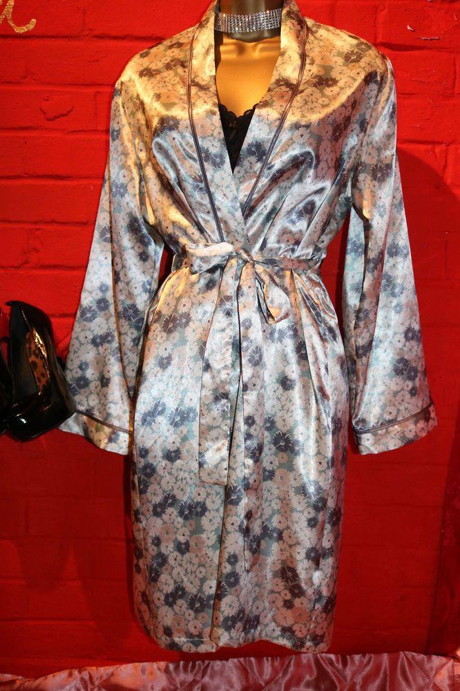 M&S Per Una Aqua Mix Beautiful Glossy Satin Nightie Dressing Gown ...