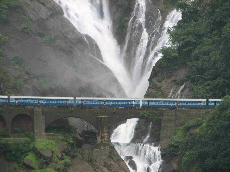 Near Goa India a Waterfall and a Train Passing By