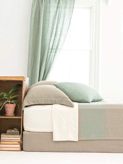 #PineConeHill Cotton Twill Oatmeal/Ocean Blanket   Available at ld linens & decor