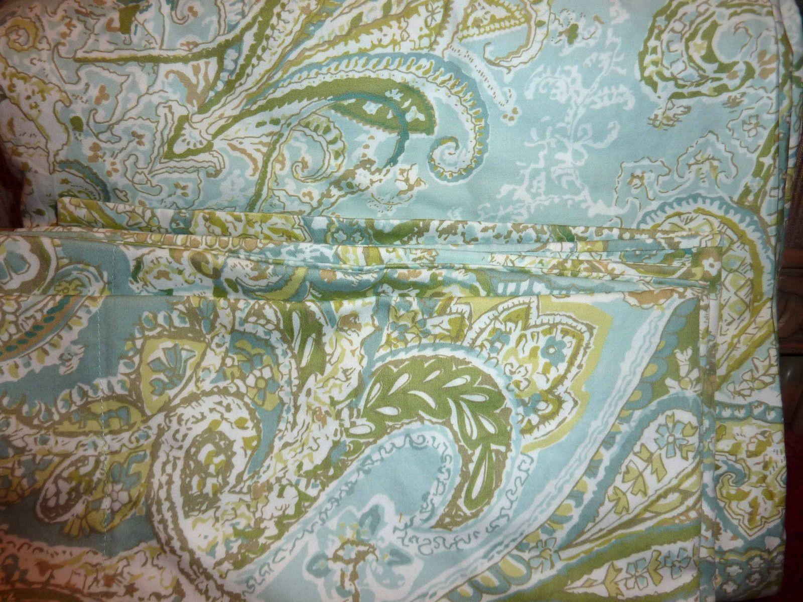 Pottery Barn Sienna Paisley Full Queen Duvet Cover Blue