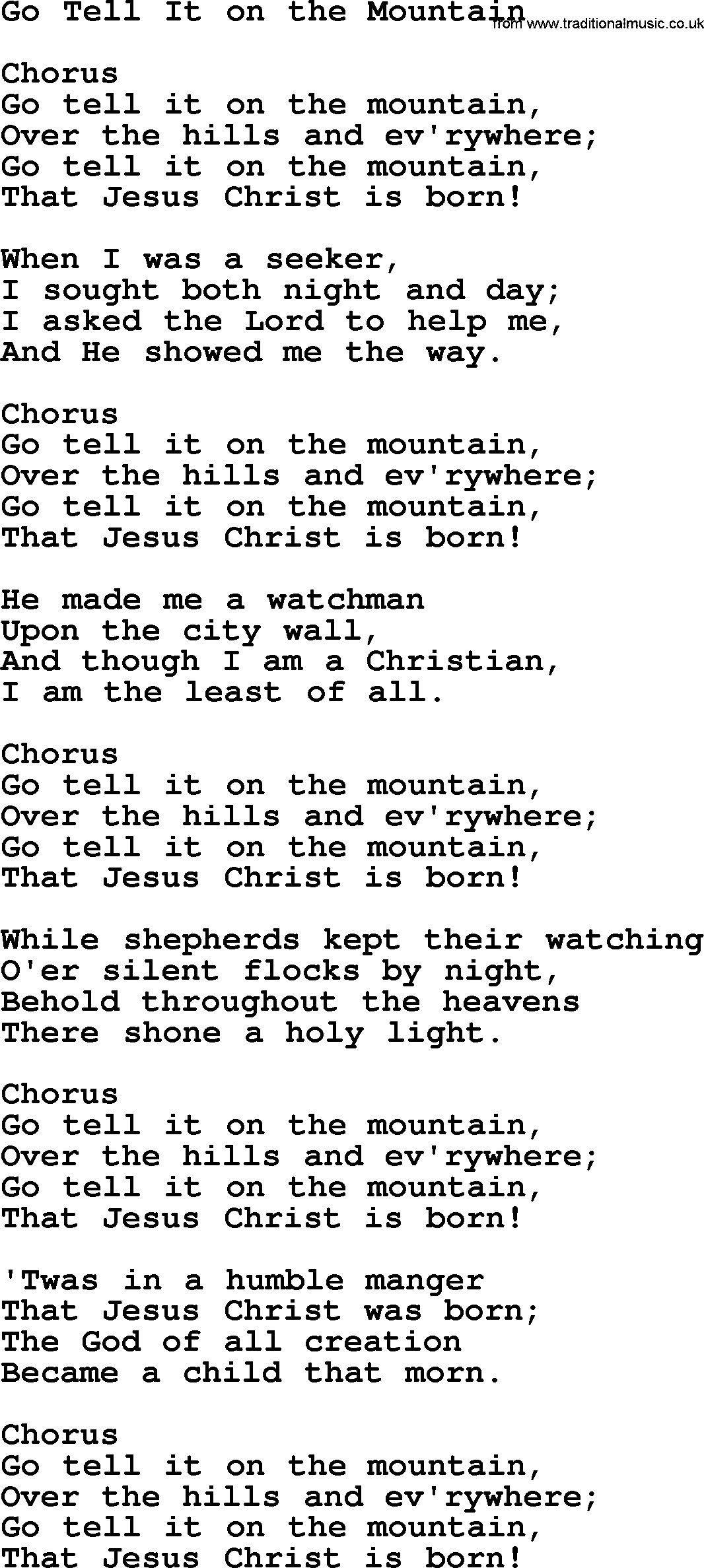 Baptist Hymnal Hymn: Go Tell It On The Mountain, lyrics with pdf ...