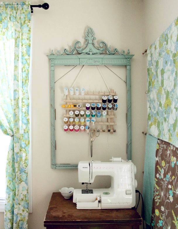 ooh, lovely and useful way to display craft tools and notions! steal this idea!