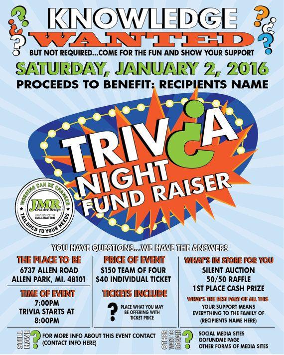 Trivia Night Fundraiser Flyer Benefit Flyer By Jmrcreativedesign