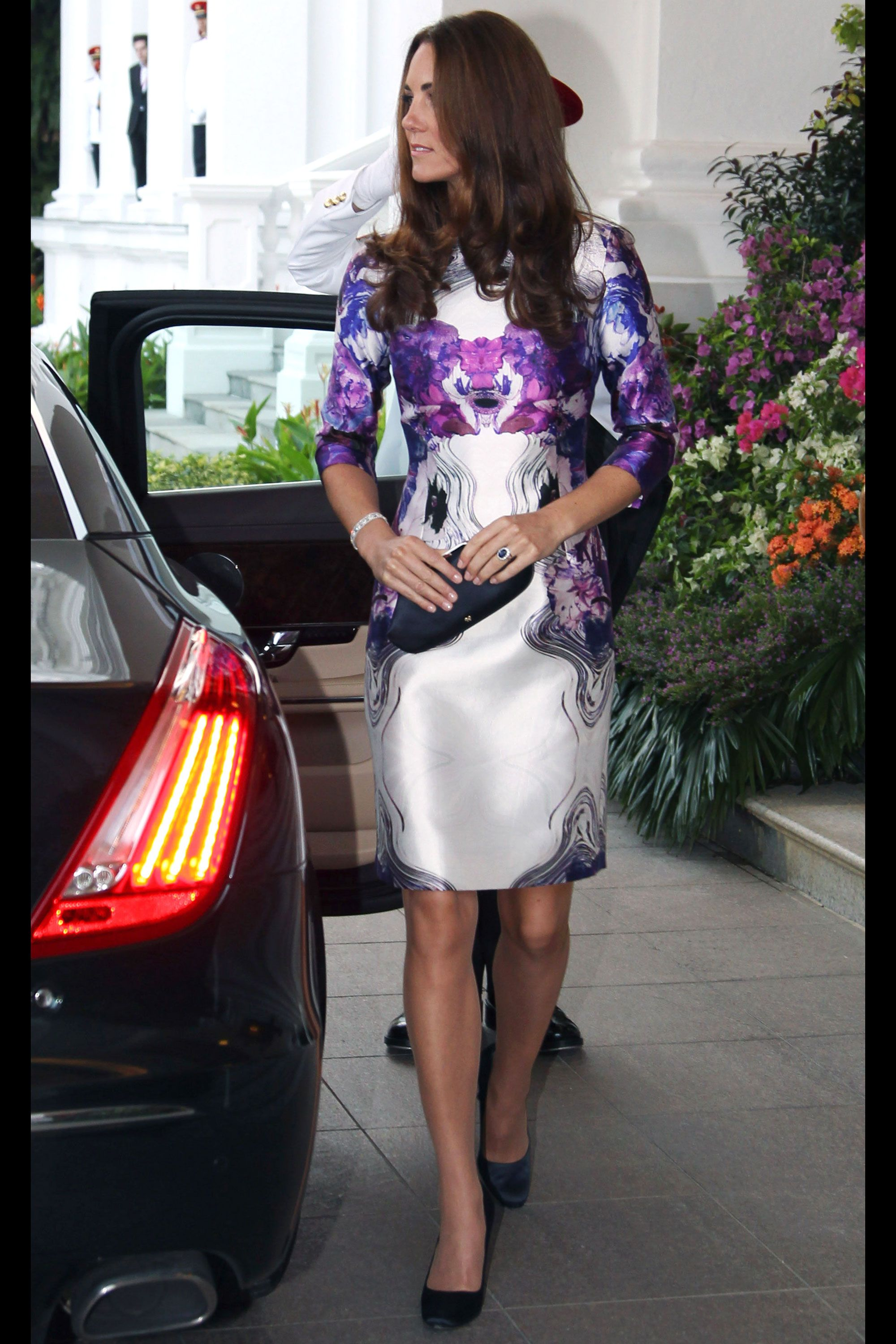September 2012 - Kate Middleton in Prabal Gurung at the Istana Welcoming Ceremony for the Diamond Jubilee Tour Getty Images  - HarpersBAZAAR.com