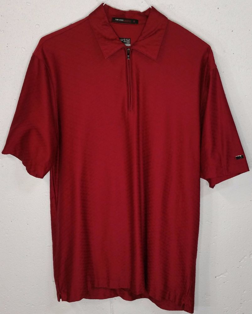 Nike Tiger Woods Collection Fit Dry Mens Zipper Short Sleeve Polo Shirt Medium M…