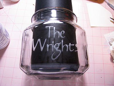 Etched glass jars, courtesy of Scissors and Hot Glue