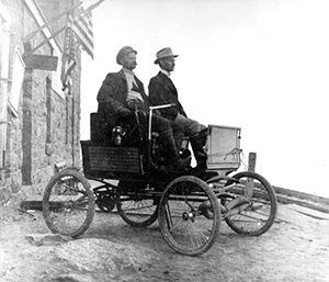 On August 12th, 1901 a two-cylinder Locomobile Steamer driven by C.A. Yont and W.B. Felker becomes the first automobile to reach the summit of Pikes Peak.