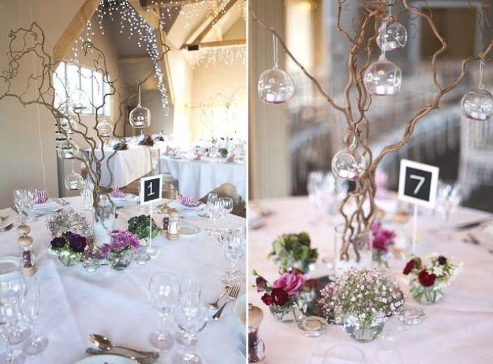 Hochzeit im Winter dekorieren märchenhafte Tischdekoration und