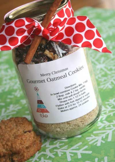 Cute Homemade Christmas Gifts - Gourmet Oatmeal Cookies - Click pic