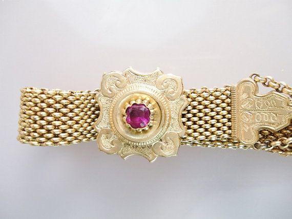 Victorian 1860'S Mesh Garnet 12K GF Slide Bracelet - Antique 12k Gold Filled Gemstone Slide Bracelet - Victorian Jewelry