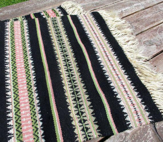 Wool Table Runner Vintage Navajo Rug Striped By MerilinsRetro