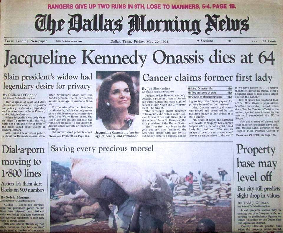 Image result for the death of jackie onassis in 1994