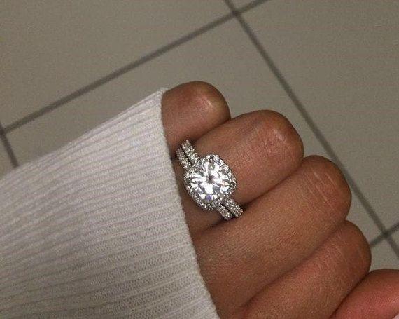 2 Carat Moissanite Engagement Ring ,Cushion Cut Engagement Ring, Cushion Forever Brilliant Moissanite Ring in 14k White gold.