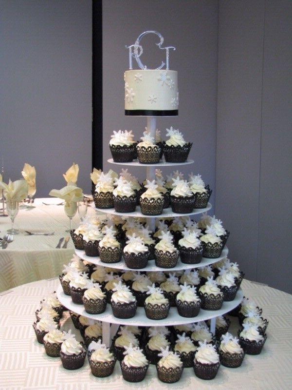 Cakes, white, black, silver, gold, cake, Cupcake