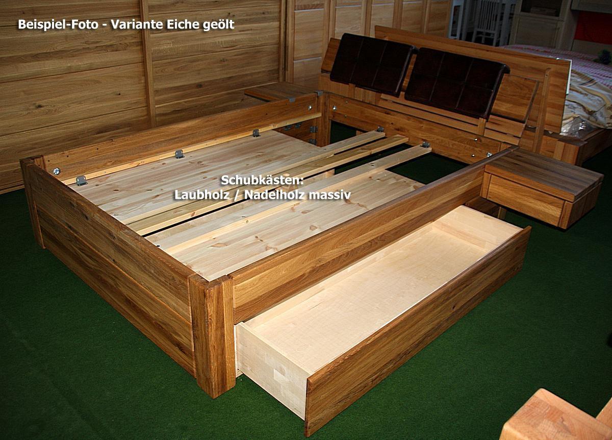 Elegant Massivholz Schubladenbett 180x200 Holzbett Bett Eiche Massiv Geölt