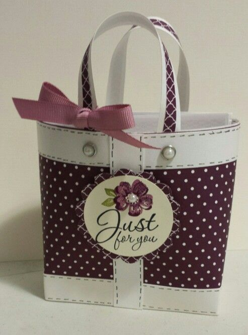 Bag In A Box Handmade bag with Stampin Up products 4 Note Cards and 4 Thank You Cards.... all with handmade envelopes.....