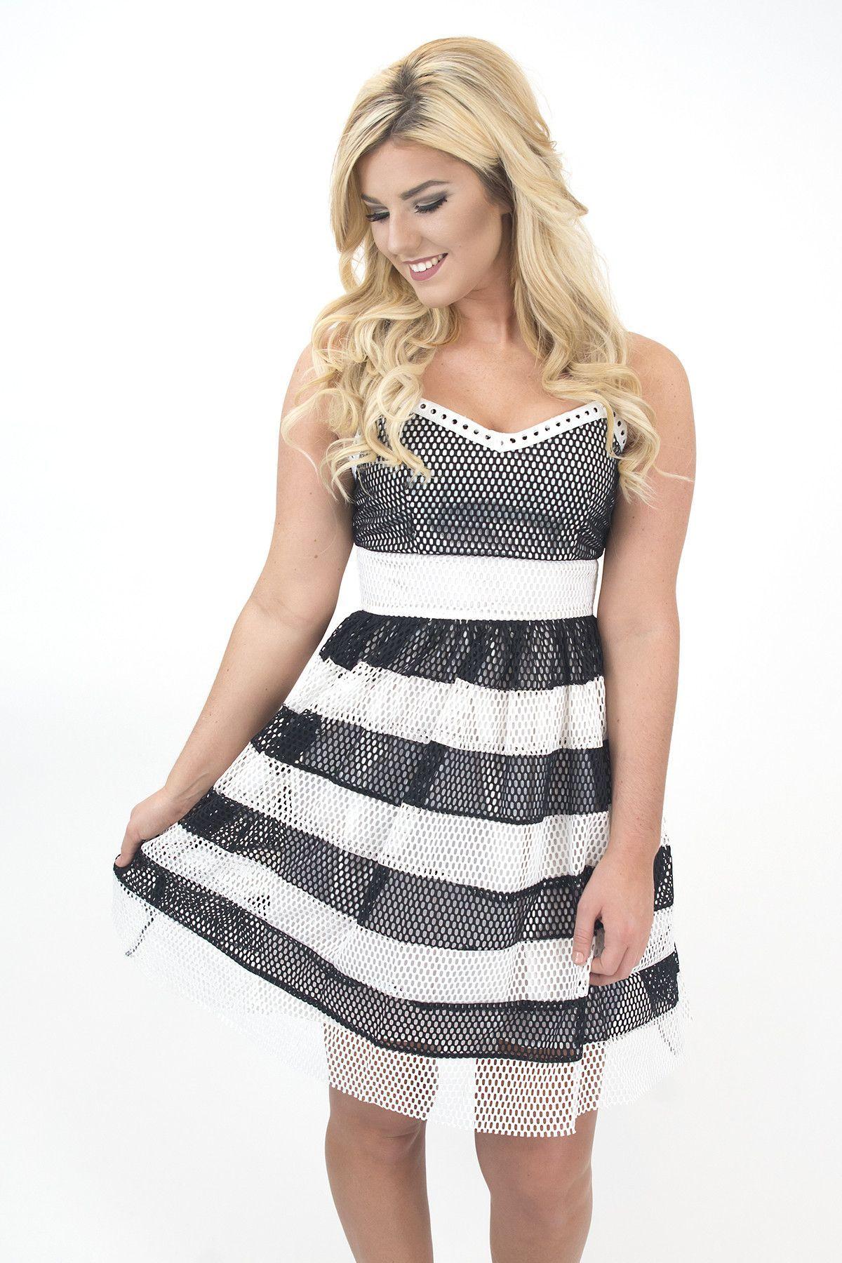 Women's Black/White Stripe Panel Mesh Overlay Dress