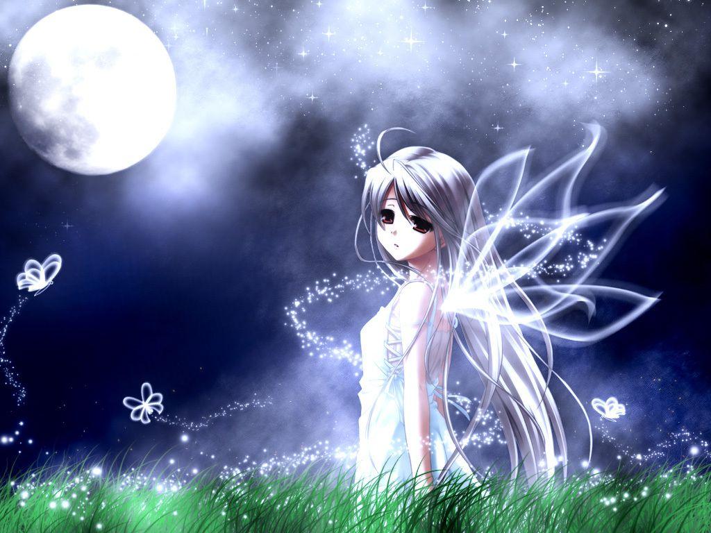 Moon Fairy Anime Girl With White Hair