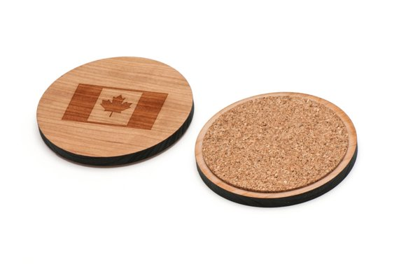 Canadian Flag Wooden Coasters Set Of 4 Gifts For Him Wedding Gifts