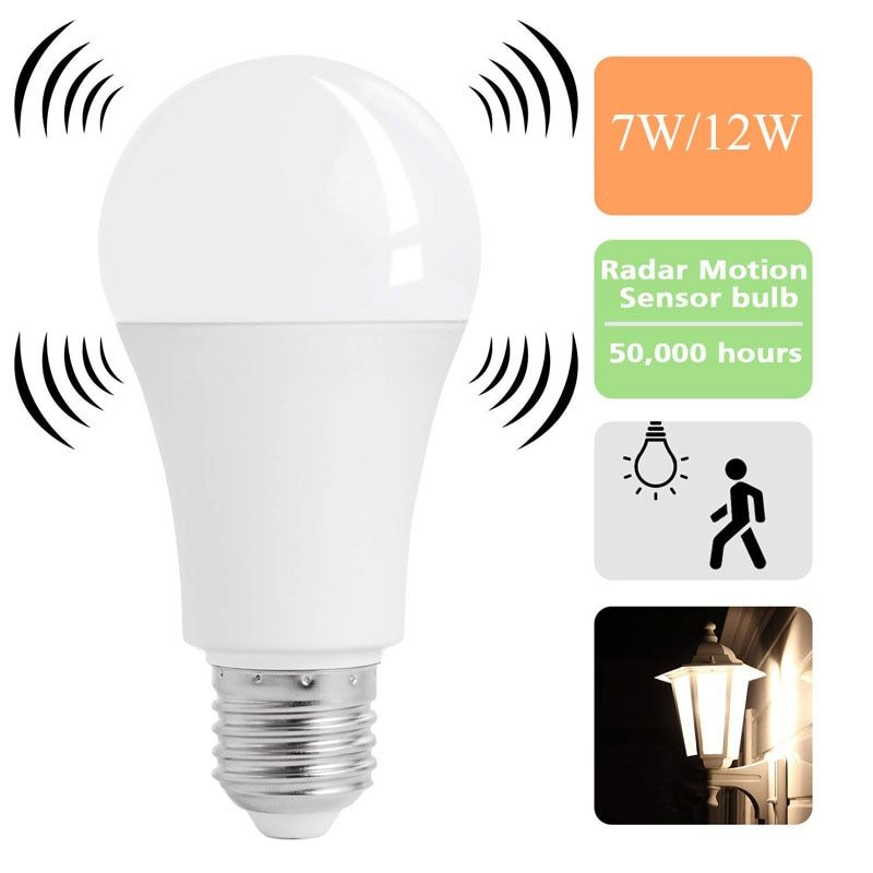 Universe Of Goods Buy Led E27 Pir Motion Radar Sensor Lamp Auto Smart Infrared Body Sound Bulb 7w 12w Ac85 265v Sensor Night Lights Light Sensor Smart Bulb