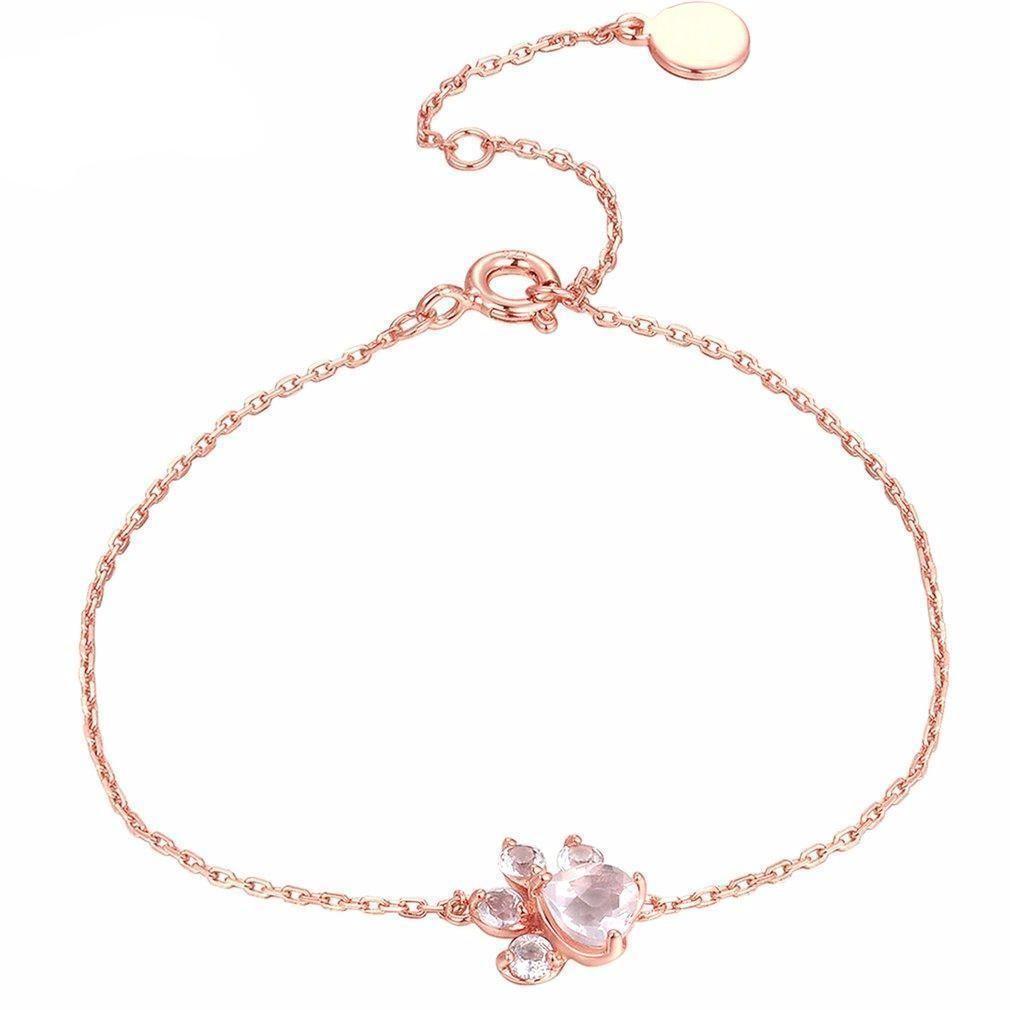 34c5c9df20c679 Rose Quartz 925 Sterling Silver Cat Paw Bracelet   Products ...