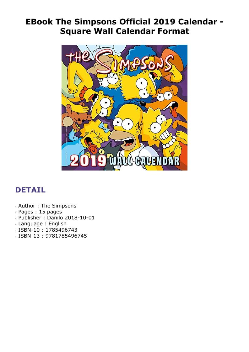 Ebook The Simpsons Official 2019 Calendar Square Wall Calendar Wall Calendar 2019 Calendar Calendar