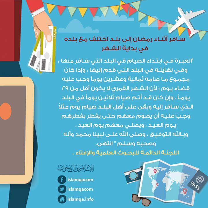 حكم من سافر أثناء رمضان إلى بلد اختلف مع بلده في بداية الشهر Http Ift Tt 2sxnroo Loq Map Islam