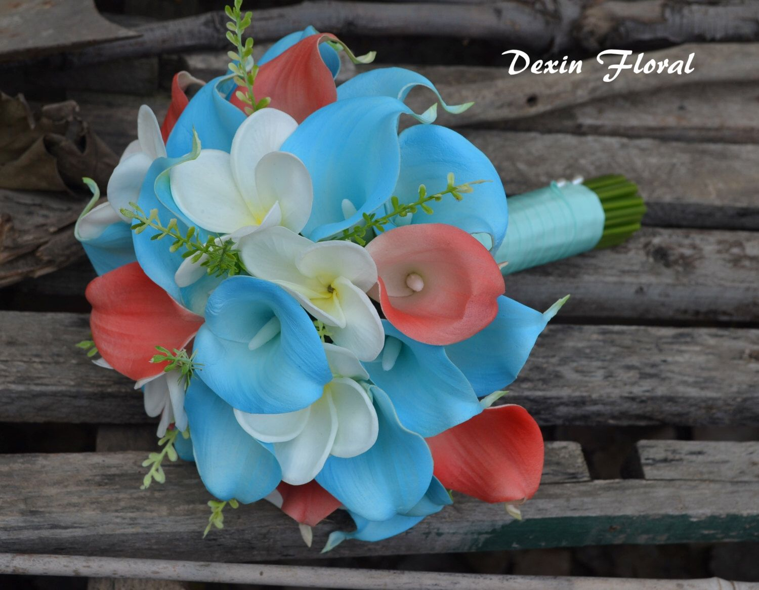Real touch wedding bridal bouquet aqua blue coral calla lily