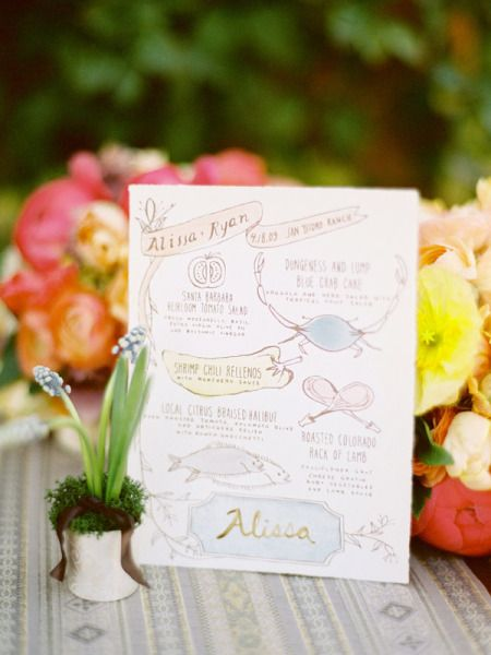 Day-Of Wedding Stationery Inspiration and Ideas: Colorfully Illustrated Menus via Oh So Beautiful Paper (2)