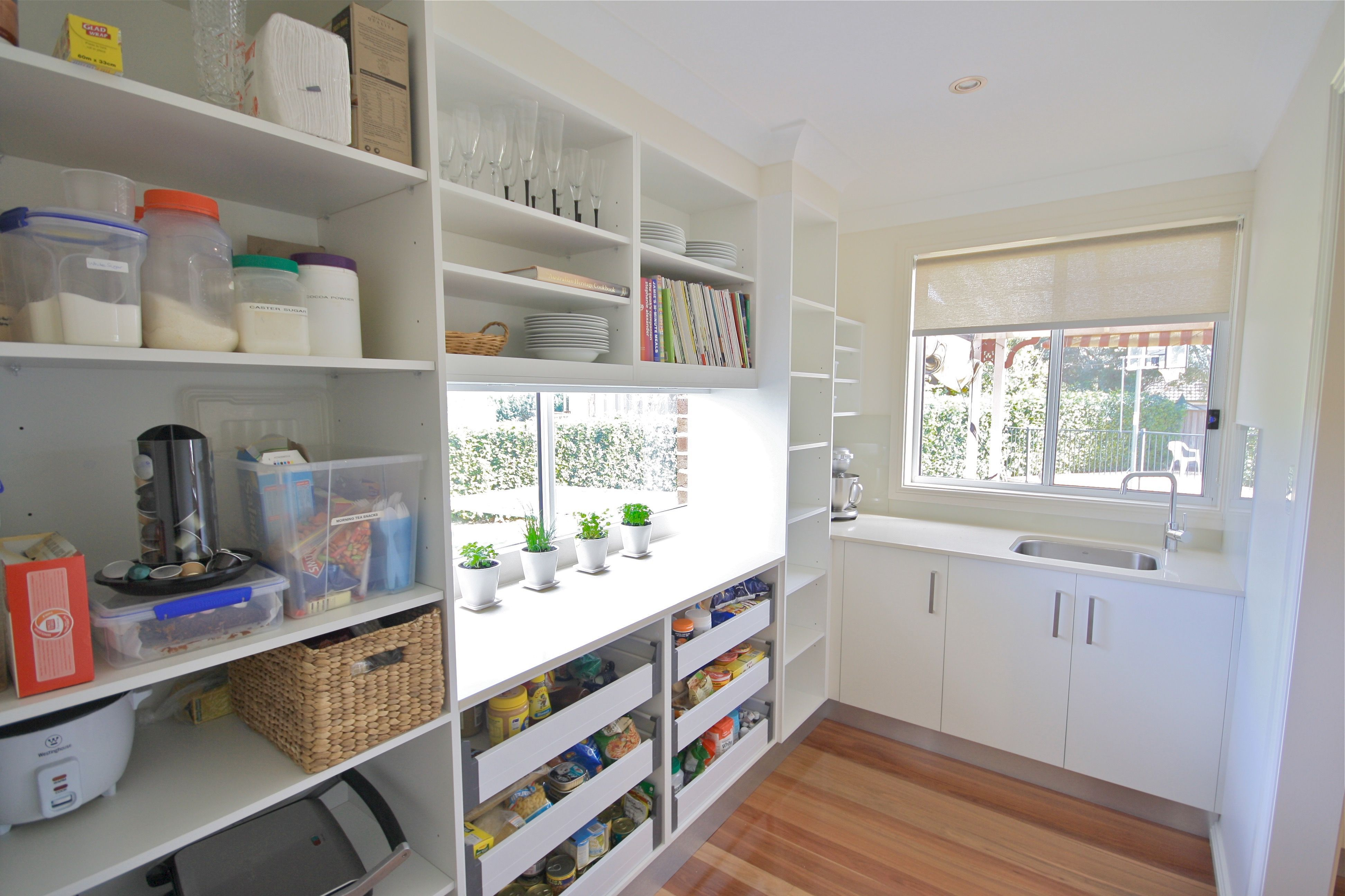 Modern Butlers Pantry Open Adjustable Shelving Drawers Plenty Of Natural Light Kitchensbyemanuel Kbeca Pantry Design Kitchen Pantry Design Pantry Layout