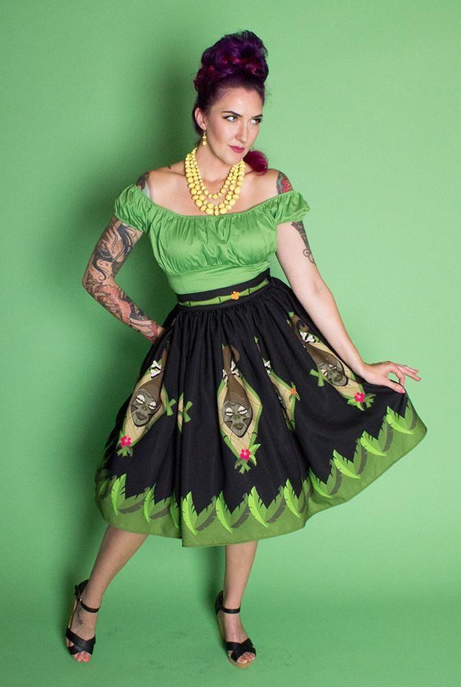 6ee39fe41e Shrunken Head Novelty Print Gathered Skirt