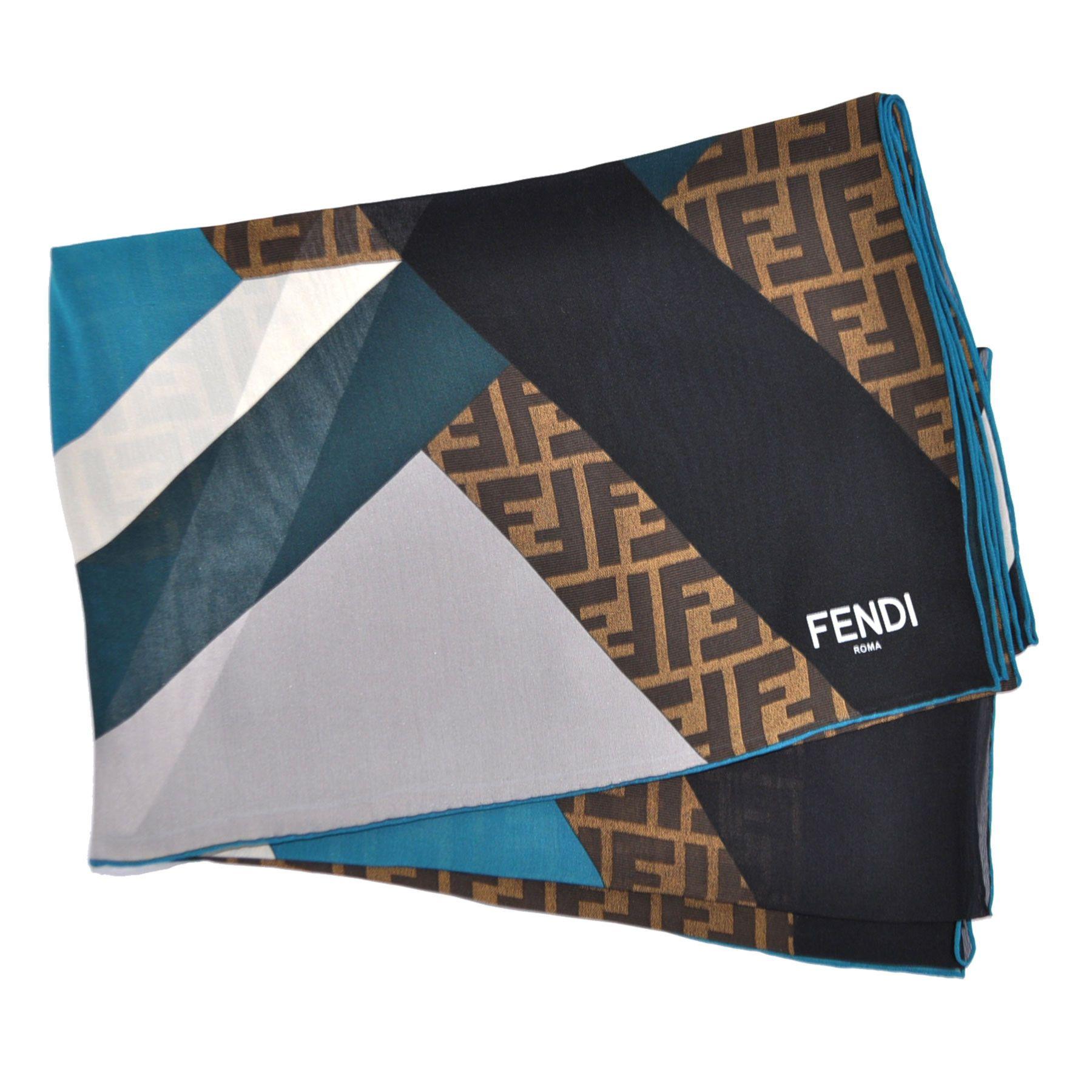 Designers Fendi Turquoise Logo Scarf For Women On Sale