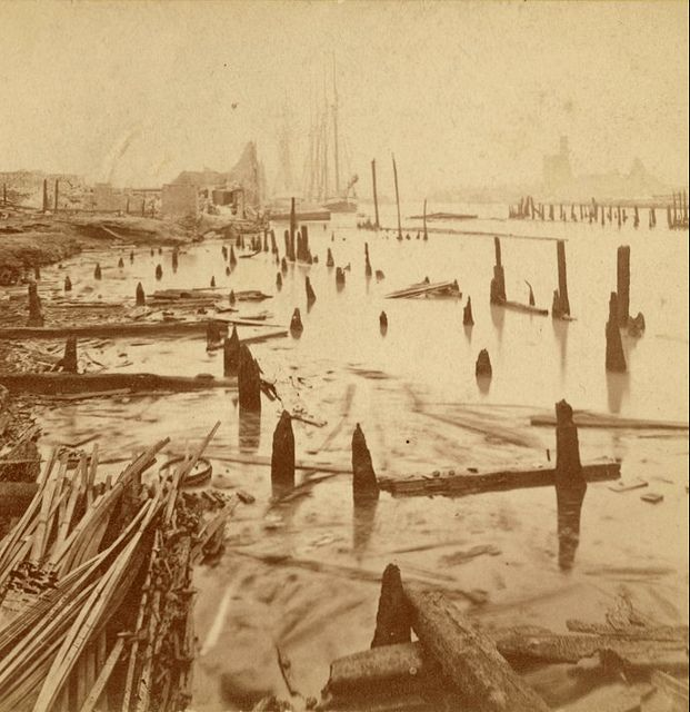 Animated Stereo Chicago River After The Great Fire 1871