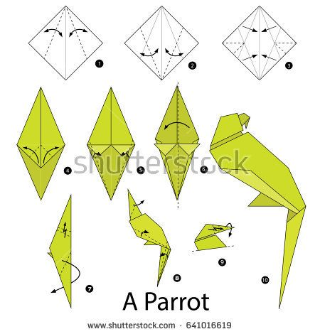 step by step instructions how to make origami a parrot origami rh pinterest com origami parrot instructions easy origami parrot instructions diagrams