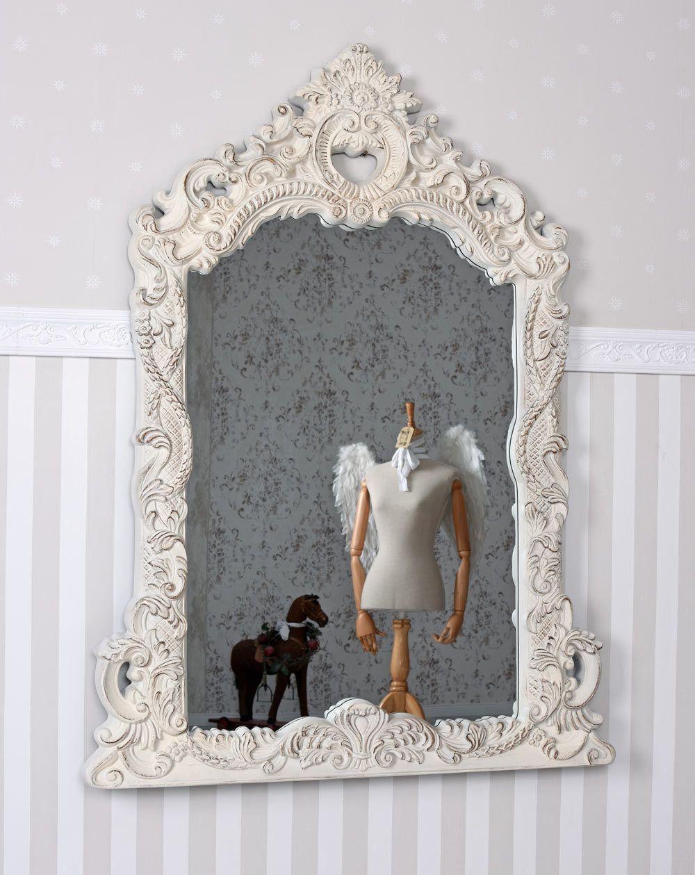 Espejo Barroco Blanco De Pared Shabby Chic Decorativo Antiguo  ~ Espejos Decorativos Segunda Mano